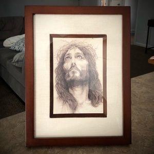 Jesus Christ framed matted pencil drawing print